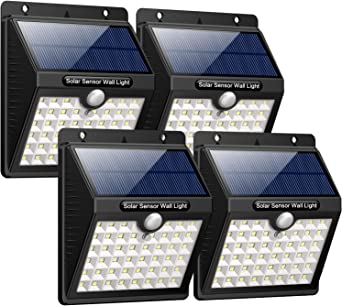 iPosible Luz Solar Jardín, Upgraded 46 LED 1800 mAh Foco Led Solar con Sensor Movimiento Lámpara Solar Exteriors Impermeable Solares de Pared de Seguridad 3 Inteligente Modos para Patio [4 Paquete]: Amazon.es: Hogar