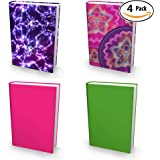 """Book Sox Stretchable Book Cover: Girls 4 Print Value Pack. Fits Most Hardcover Textbooks up to 9"""" x 11"""". Adhesive-Free, Nylon Fabric School Book Protector. Easy to Put On Jacket. Wash & Re-Use"""