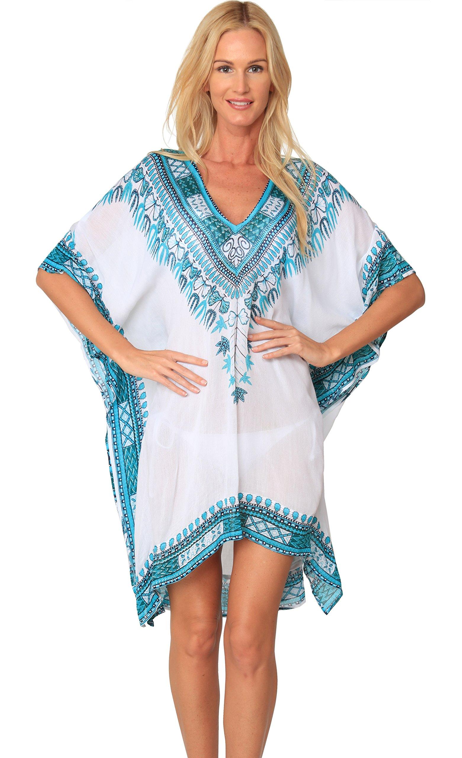 INGEAR Fashion Cover Up Summer Hawaiian Poncho Print Tunic Hem Tops Beachwear (One Size, Turquoise/White)