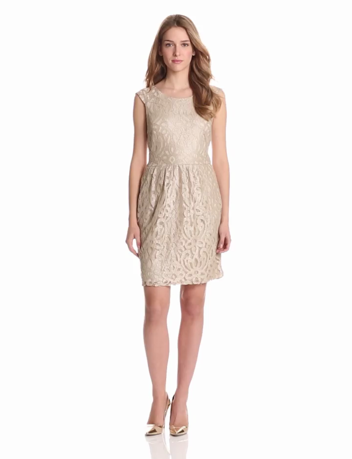 Tiana B Womens Boatneck Lace Dress, Taupe/Silver, 10