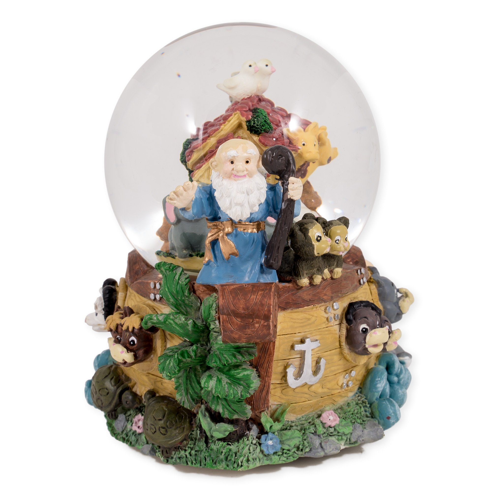 Noah's Ark Many Animals 100MM Music Water Globe Plays Tune Talk to the Animals