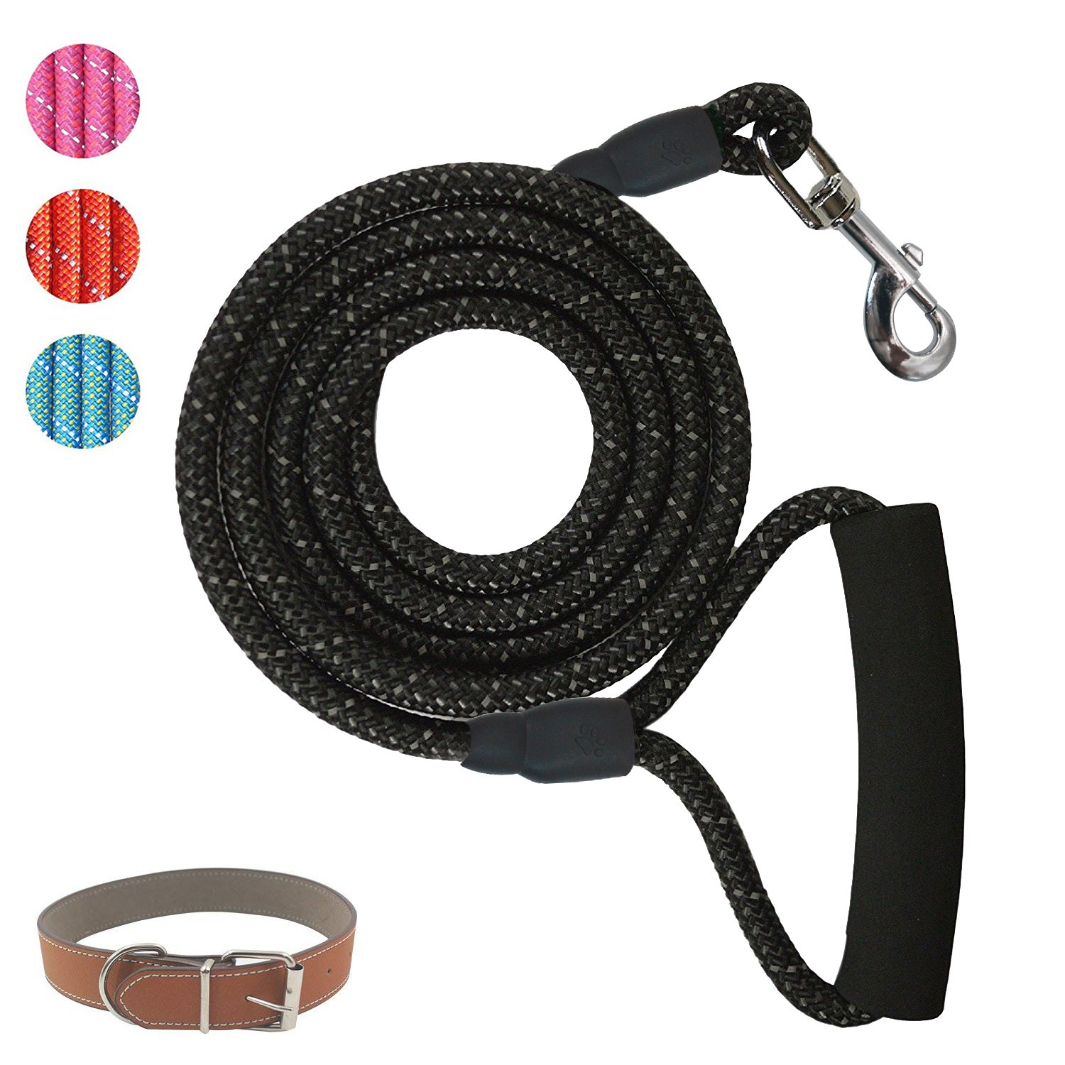 POWERIVER Dog Leash Lead, 6 Feet Strong Dog Lead with Dog Collar, 1.8 M Heavy Duty Dog Leash with Highly Reflective Threads,Perfect for Medium and Large Dogs- Black