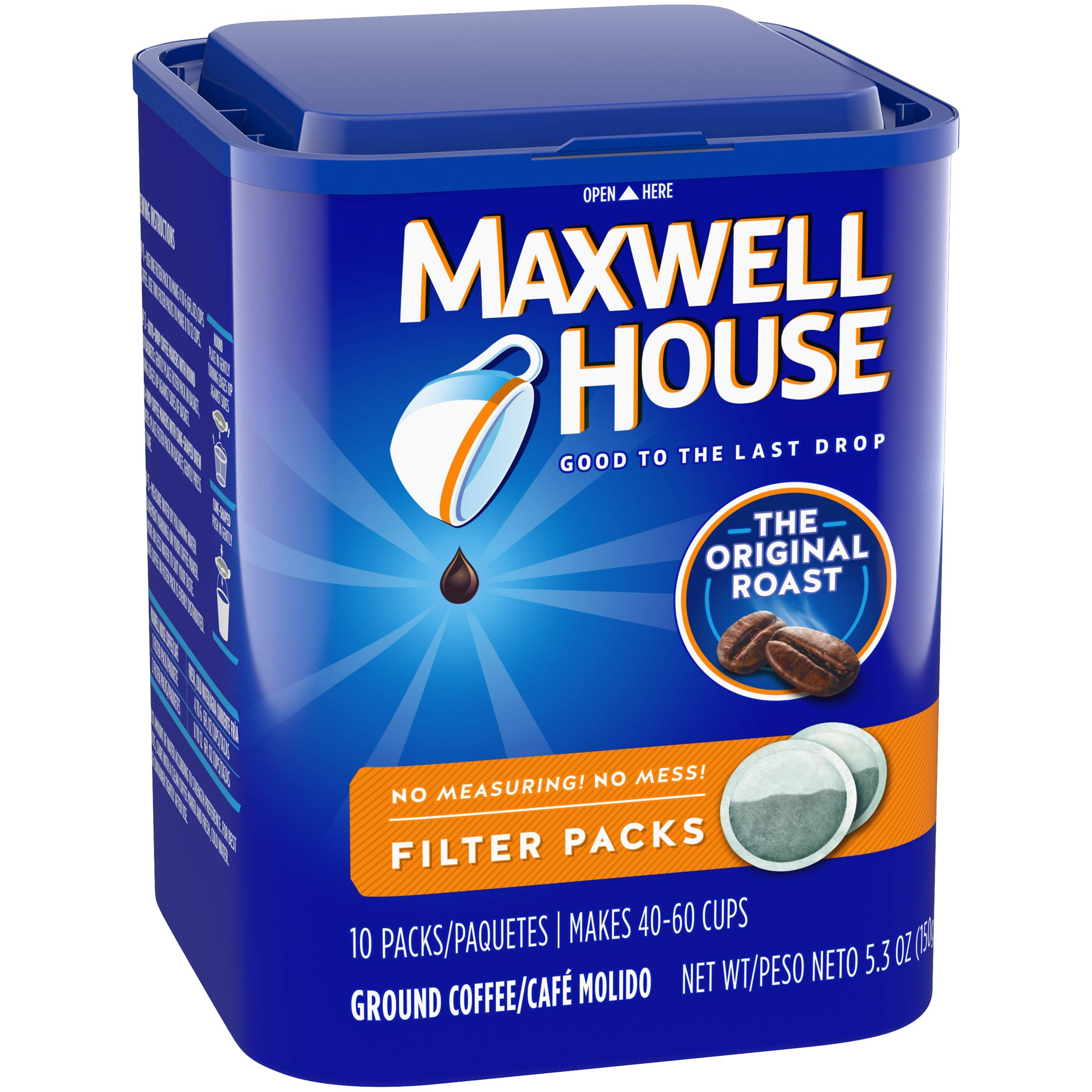 Maxwell House Original Blend Ground Coffee, Medium Roast, 10 Filter Packs (Pack of 4)