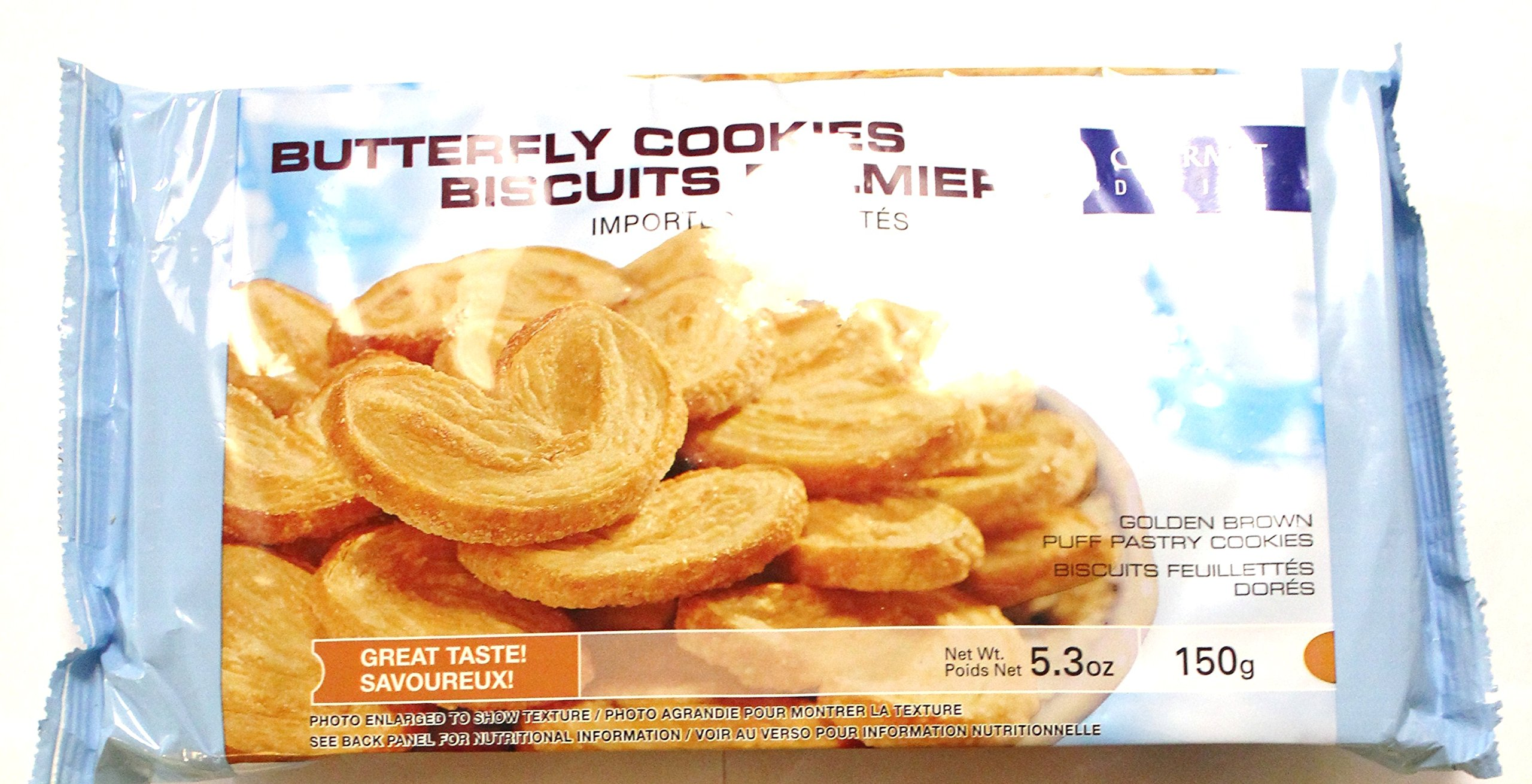 Butterfly Cookies Biscuits Palmiers, 150g 5.3oz (Pack of 4)
