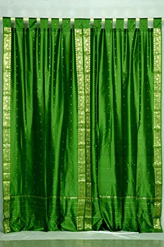 Indo Forest Green Tab Top Sari Sheer Curtain 43 in. x 84 in. – Piece