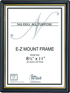 """NuDell 8.5"""" x 11"""" EZ Mount Economy Document Frame Plastic Face, Black with Gold Trim"""