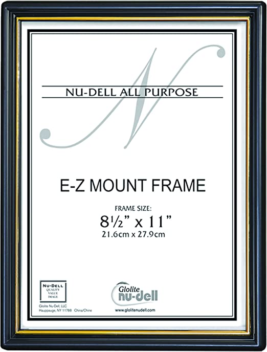 "8.5/"" x 11/"" EZ Mount Economy Document Frame Plastic Face Black with Gold Trim New"