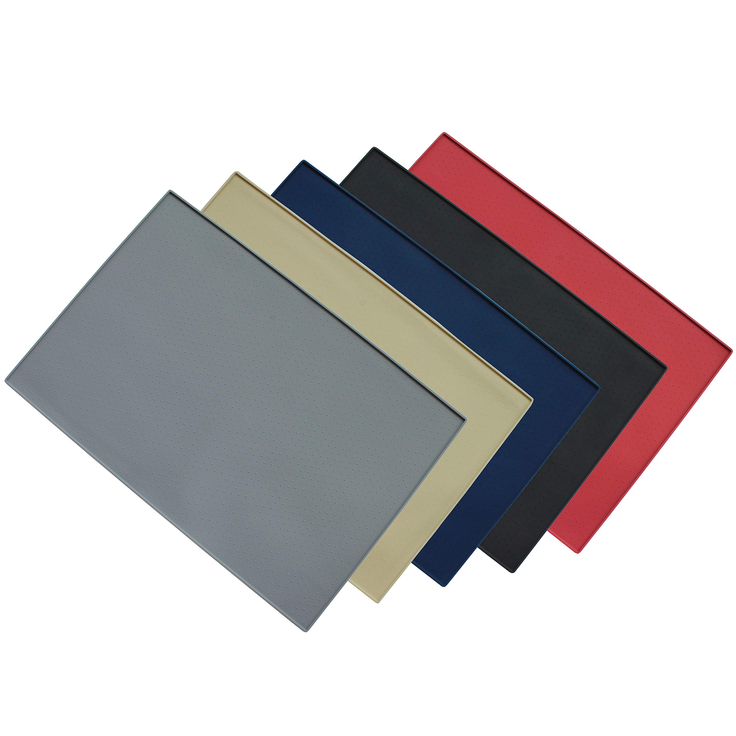 Hiado Dog Bowl Mat Raised Edges Non Skid Spill Proof Large Waterproof Silicone for The Floor 24x16 Inch Grey