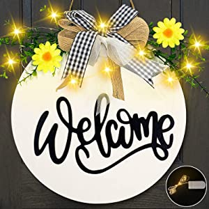 TURNMEON 10 Led Lighted Welcome Wreath Sign Front Door Porch Decor, Rustic Round Wooden Hanging Sign Daisy Eucalyptus Bow Spring Summer Decor Housewarming Outdoor Home Decoration