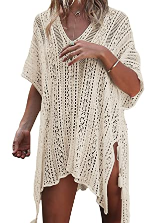 8da3dce36210 Tkiames Damen Strandkleid Bikini Cover Up Sommer Bademode Stricken Beach  Kleider