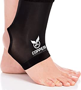 Copper Compression Gear Premium Fit Recovery Ankle Sleeve - 100% Guaranteed - Best Ankle Brace Support Sock Wrap Stabilizer for Men and Women (Size XL)