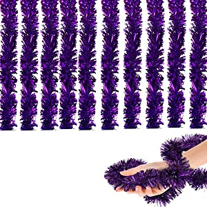65.6 ft Royal Purple Tinsel Garland,(22 Yards) Commercial Length Thick Foil Classic Christmas Decorations for Christmas Tree Decorations X-mas Home Party Decor, 3 Inch Wide -Purple
