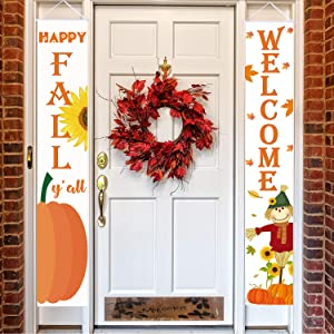 "Happy Fall Hanging Banner Welcome Sign Autumn Door Decoration""Happy Fall"" and""Welcome"" Pumpkin Maple Leaf Backdrop Flag for Home Yard Front Door Fall Hanging Decoration (Happy Fall)"