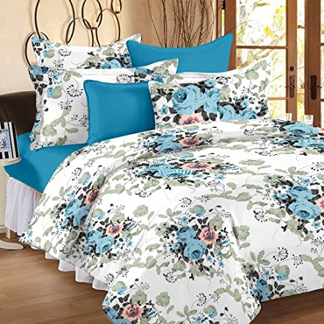 da6c9b539cd Ahmedabad Cotton Comfort 144 TC Cotton Double Bedsheet with 2 Pillow Covers  - Floral