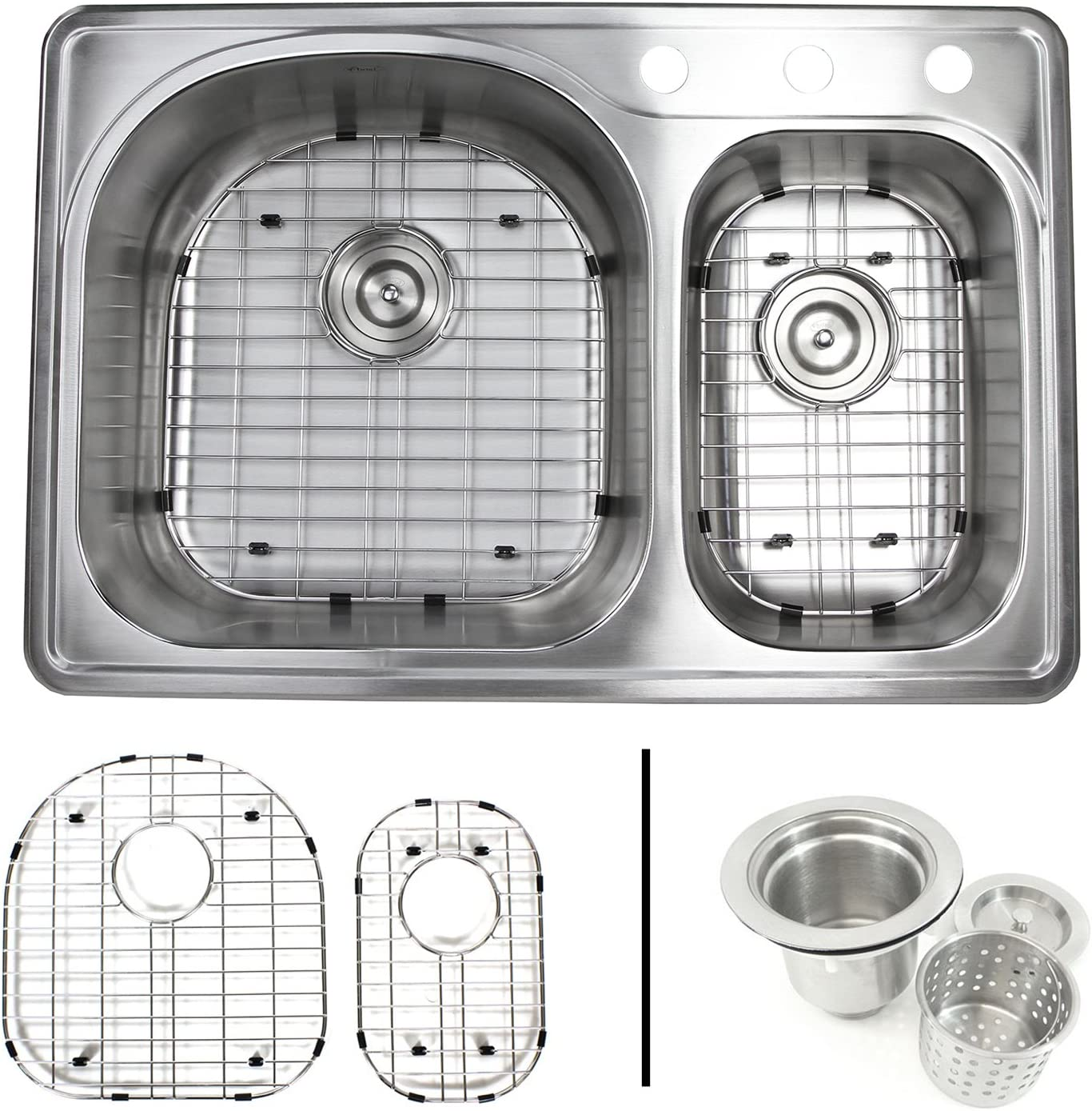 33 Inch Top-mount Drop-in Stainless Steel 70 30 Double Bowl Kitchen Sink With 3 Faucet Holes – 18 Gauge with Accessories