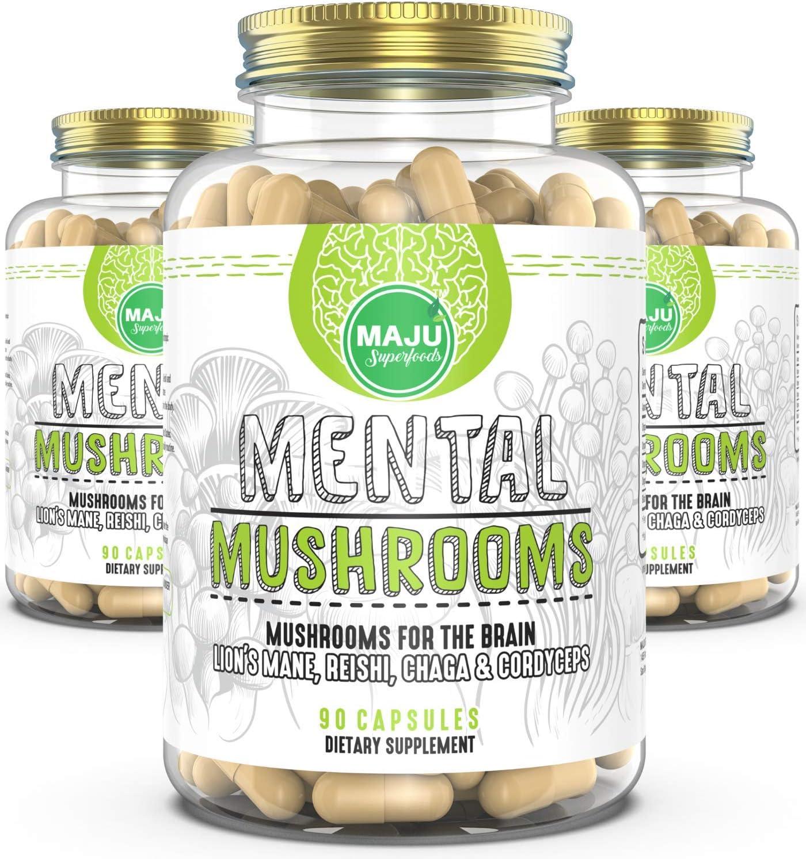 Maju Mental Mushroom Capsules - Mushroom Extract Supplement w/Lion's Mane, Cordyceps, Reishi and Chaga - Boost Your Focus, Energy, Wellness and Immune System - Nootropic Mushrooms Immune Support
