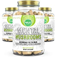 Maju Mental Mushroom Capsules - Mushroom Extract Supplement w/Lion's Mane, Cordyceps, Reishi and Chaga - Boost Your Focus, Energy, Wellness and Immune System - Nootropic Mushrooms Immune Support