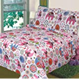 Amazon Com Queen Size Quilted Bedspread Purple Flowers