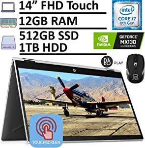"2020 Latest HP Pavilion X360 2-in-1 Convertible Laptop, 14"" FHD Touchscreen, 8th Gen Intel Core i7-8565U 12GB RAM 512GB SSD + 1TB HDD GeForce MX130 4GB, Backlit KB Win 10 + ePark Wireless Mouse"