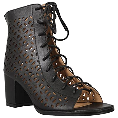8c29958e387 CORE COLLECTION Girls Kids Children Zip up Block Heel Peeptoe Lace up  Ghillie Sandals Shoes Size 10-2