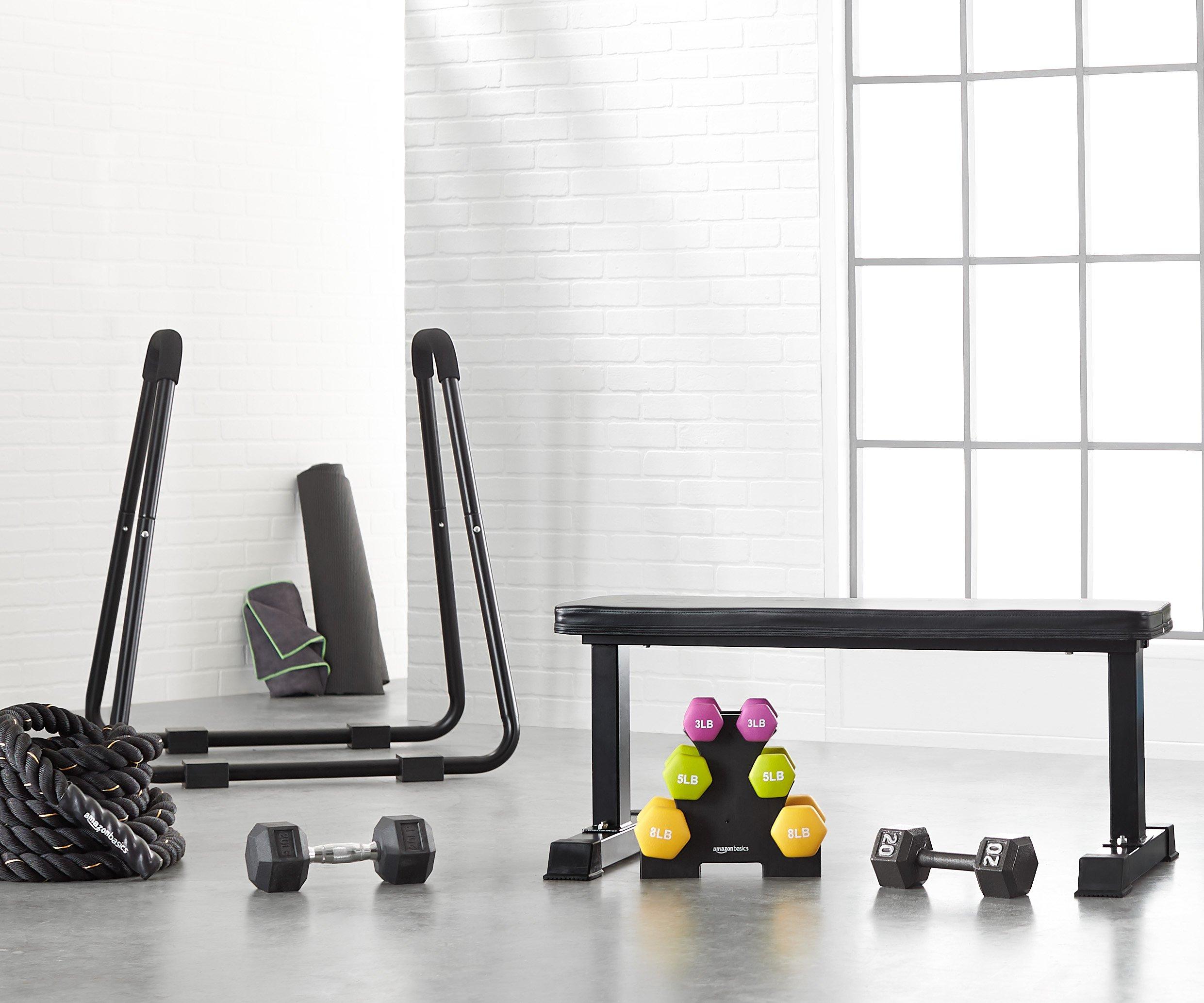 Amazon Basics Flat Weight Workout Exercise Bench 41 x 20 x 11 Inches, Black