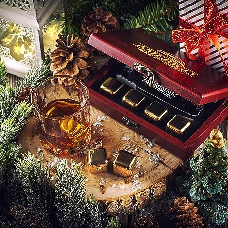 Amerigo Oro Piedras Whisky Set de Regalo de Acero Inoxidable - Regalos Originales para Hombre - Whisky Stones Gift Set - 8 Cubitos de Hielo Reutilizables para Whiskey - Hielos Reutilizables