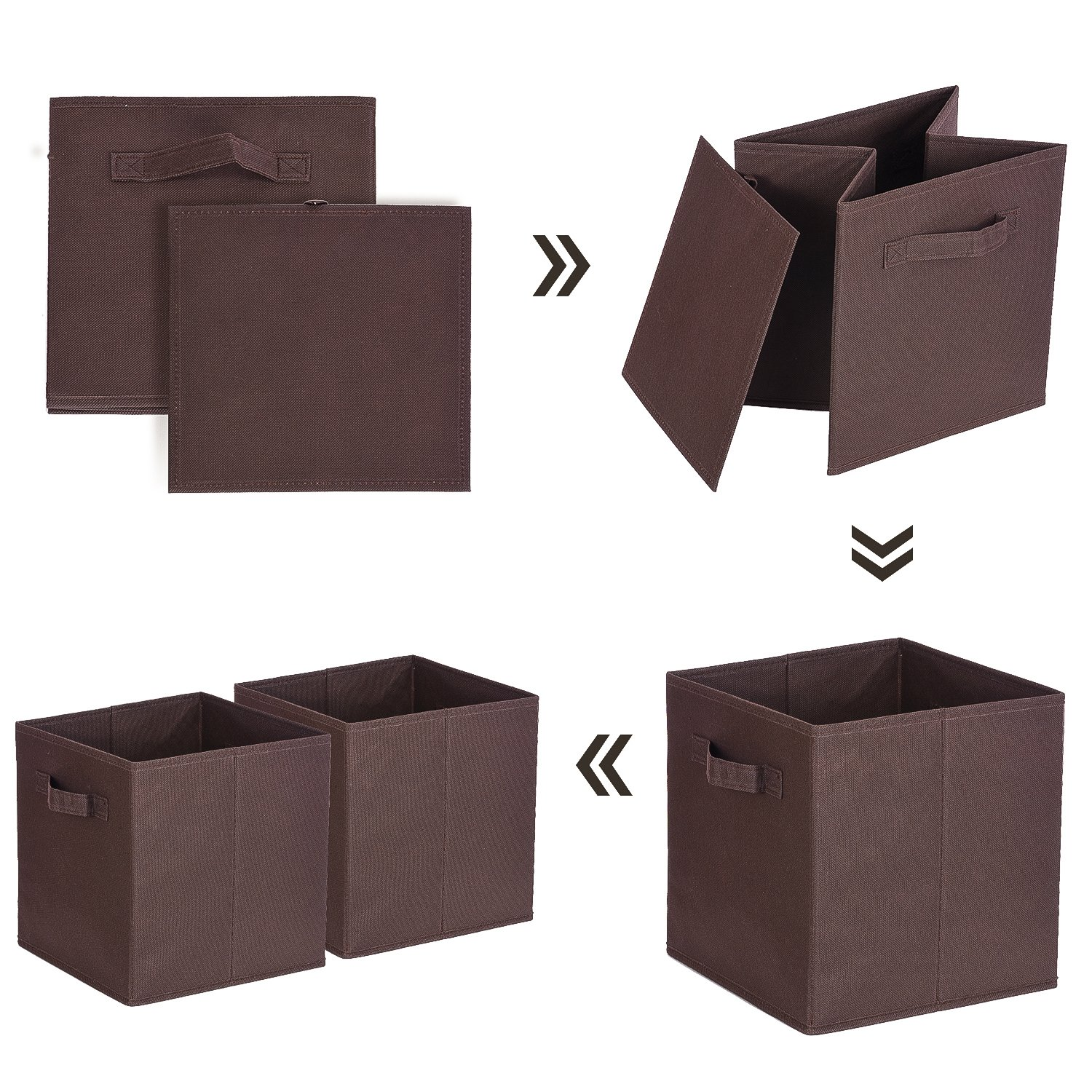 Black MaidMAX Cloth Storage Bin with Dual Handles for Home Closet Nursery Drawers Organizer Set of 6 903007 Foldable 10.5/×10.5/×11/″