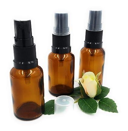 Pack de 3 x 50ml cristal marrón ámbar aromaterapia frasco con atomizador tapa negra. Botella