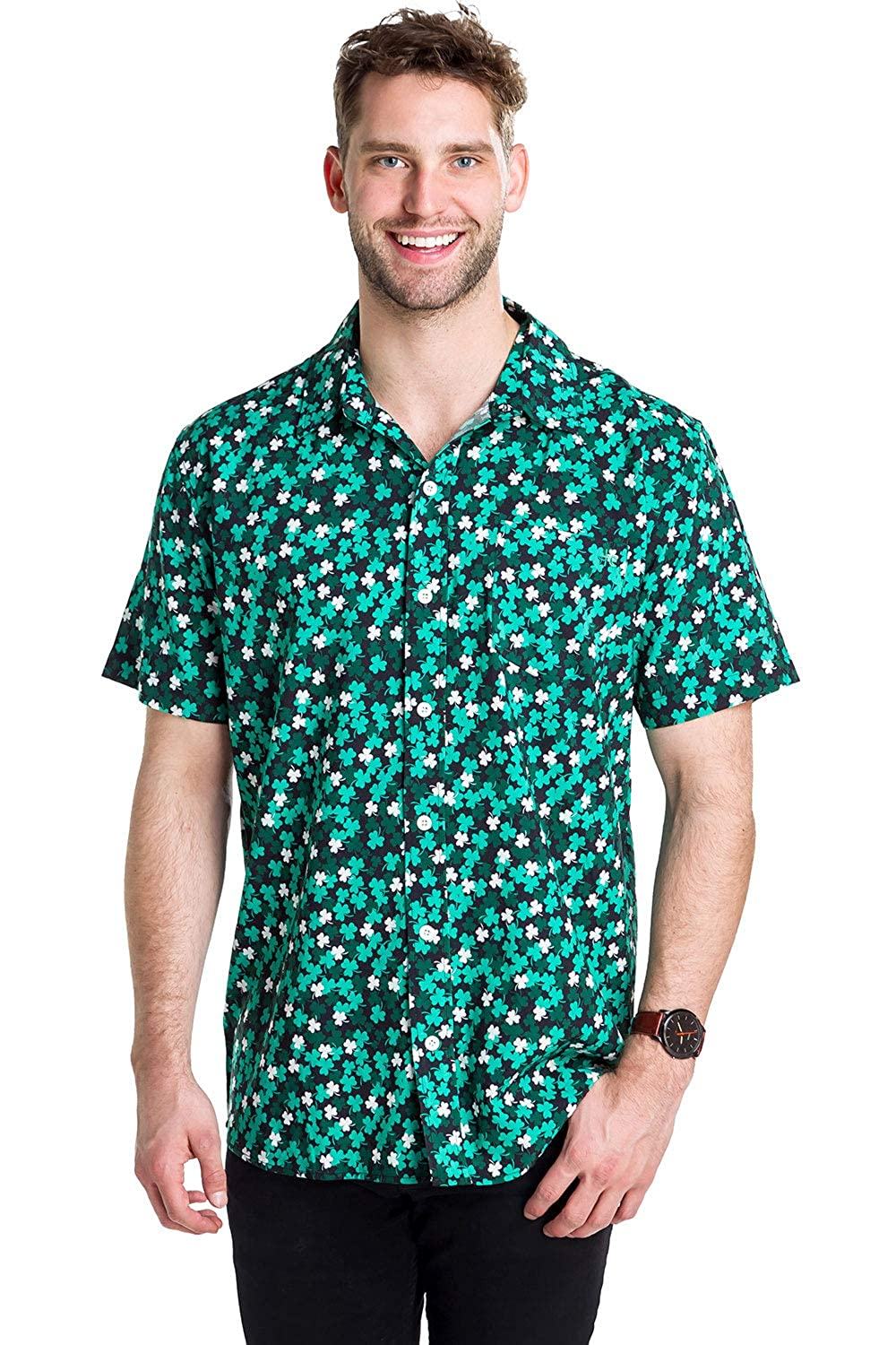 Mens St Patricks Day Button Down Shirt St Paddys Hawaiian Shirt for Guys