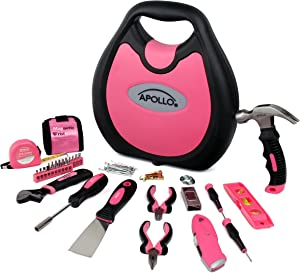 APOLLO TOOLS 72 Piece Compact Household Tool Set in Designer Case for Home Repairs, Crafts and DIY Pink - Pink Ribbon - DT4920P