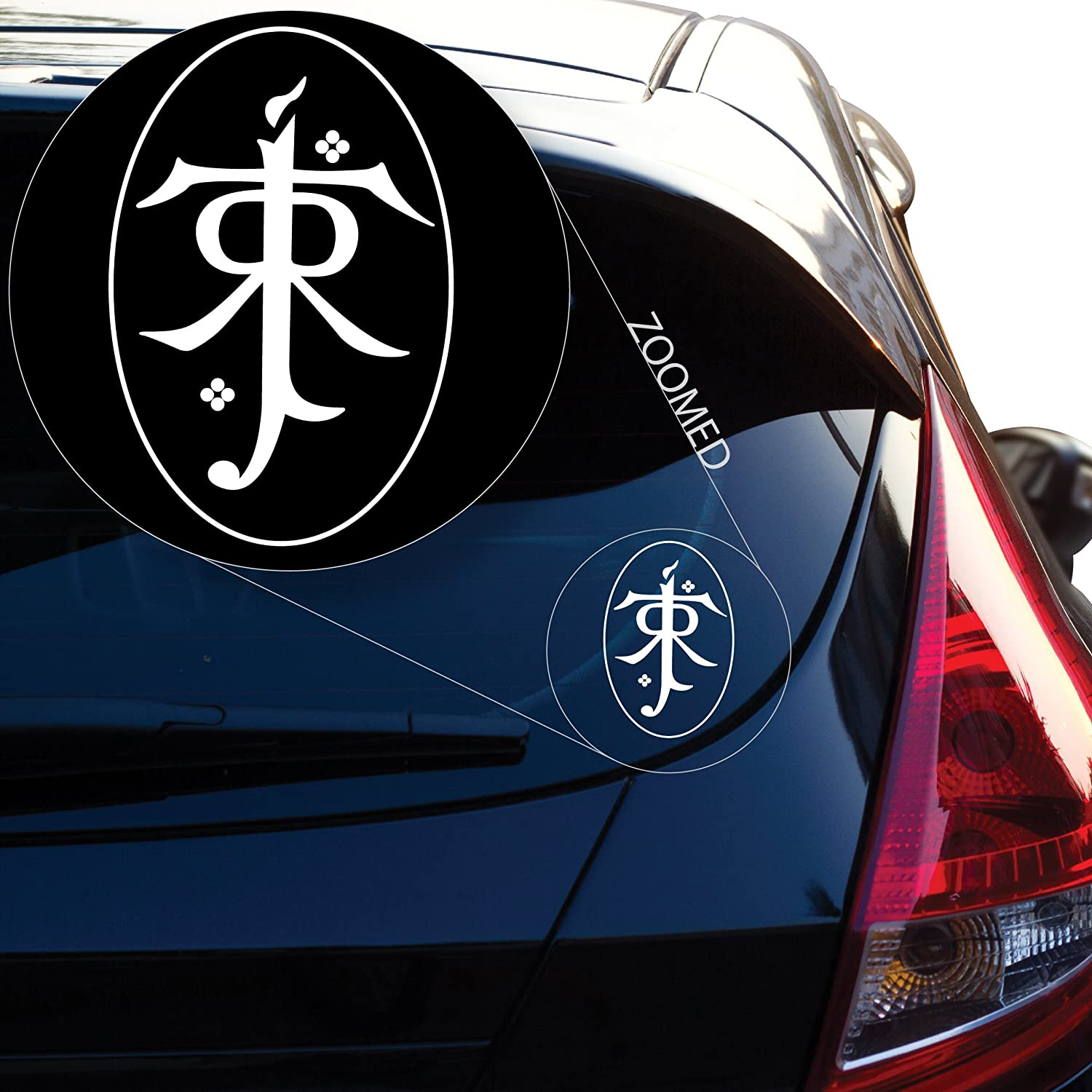 """Yoonek Graphics Lord of The Rings Tolkien Decal Sticker for Car Window, Laptop, Motorcycle, Walls, Mirror and More. # 533 (4"""" x 2.7"""", White)"""