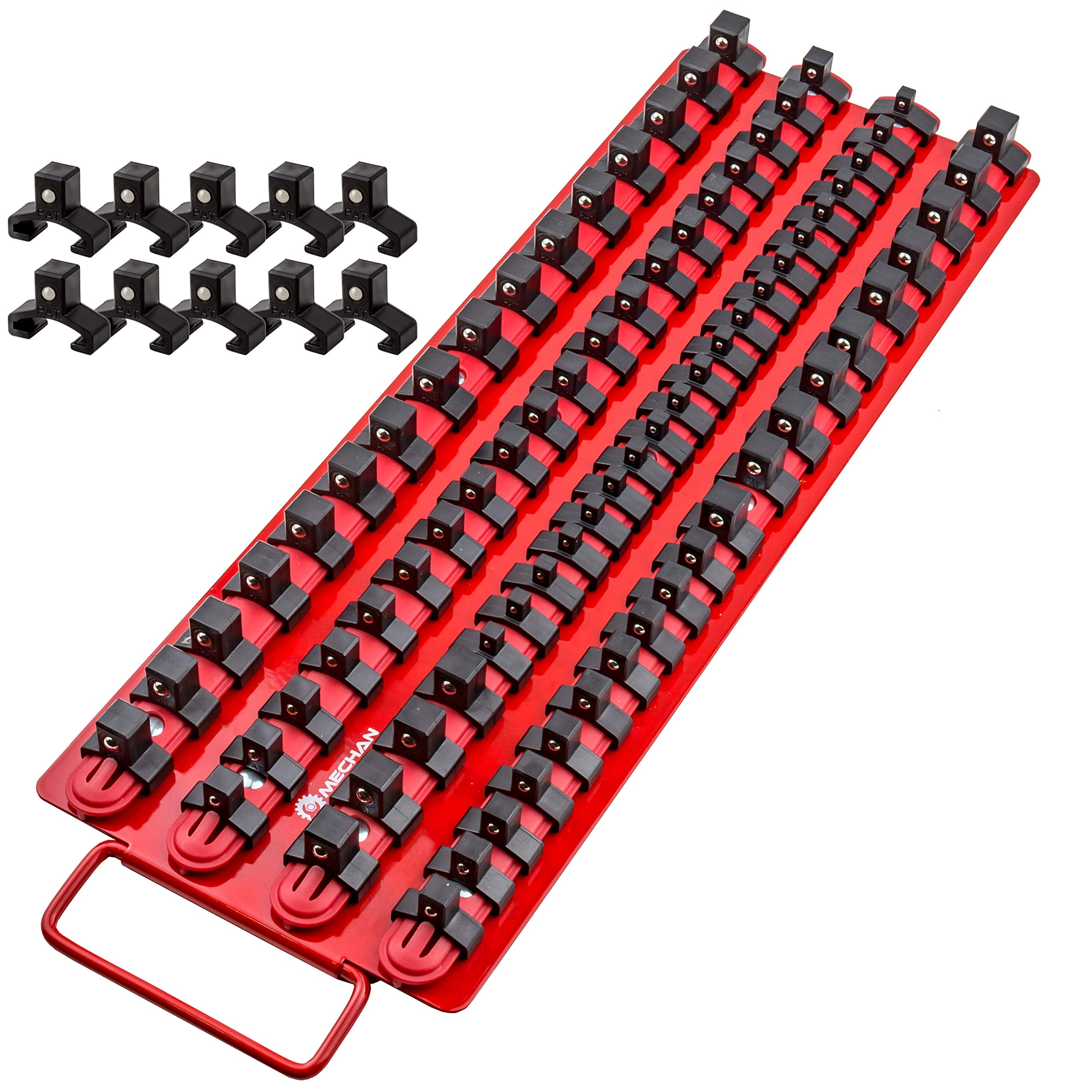 Mechan Tools 80pc Portable Socket Organizer Tray - Premium Quality Socket Tray - Adjustable Socket Holder - Sturdy Socket Rails w/Spring Loaded Ball Bearing Socket Clips For Tool Box Organization by Mechan Tools