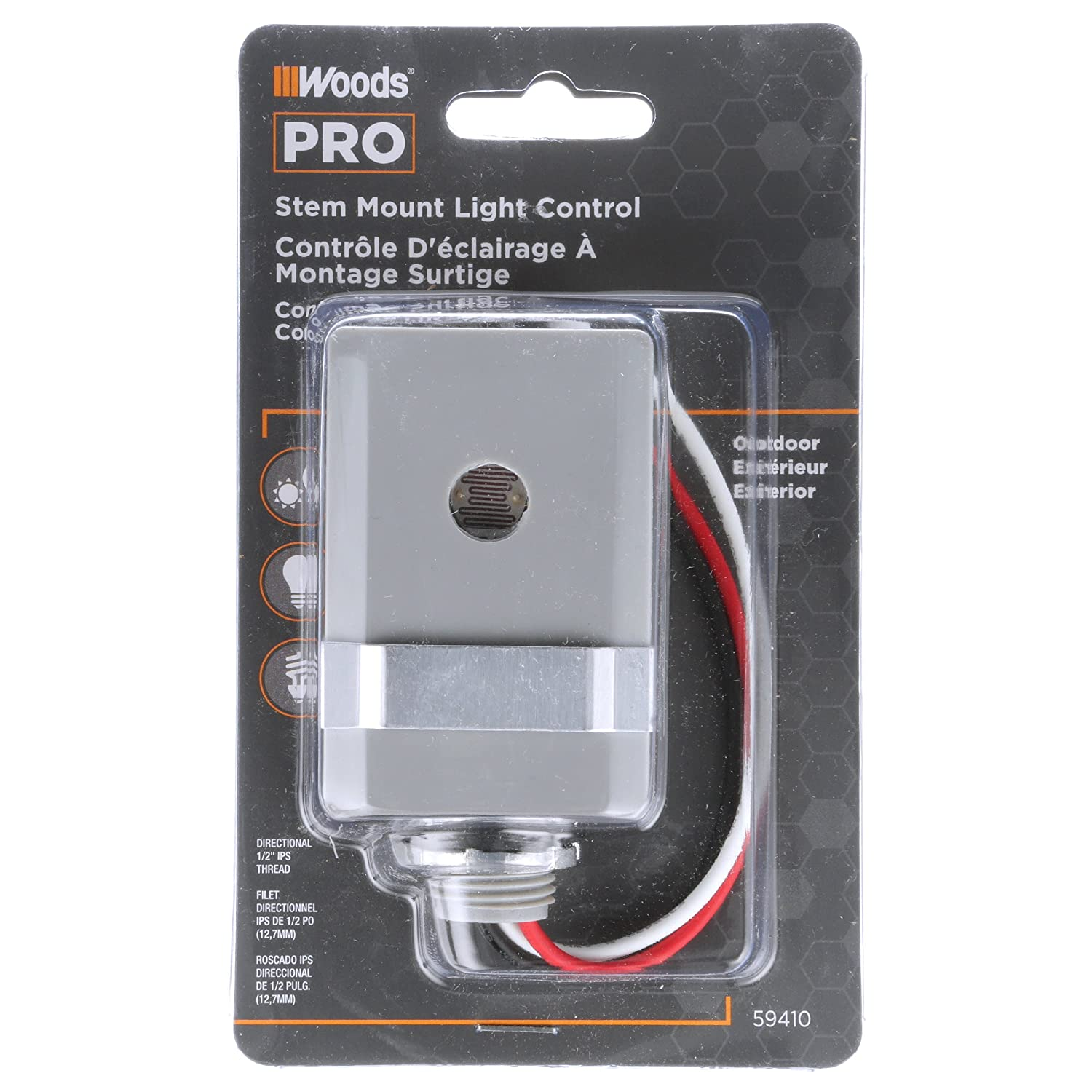 Woods Outdoor Conduit Lighting Control With Photocell And Swivel Sensor Further Fluorescent Light Fixtures On Wiring Diagram Mount Hardwired Black 59413 Pencil
