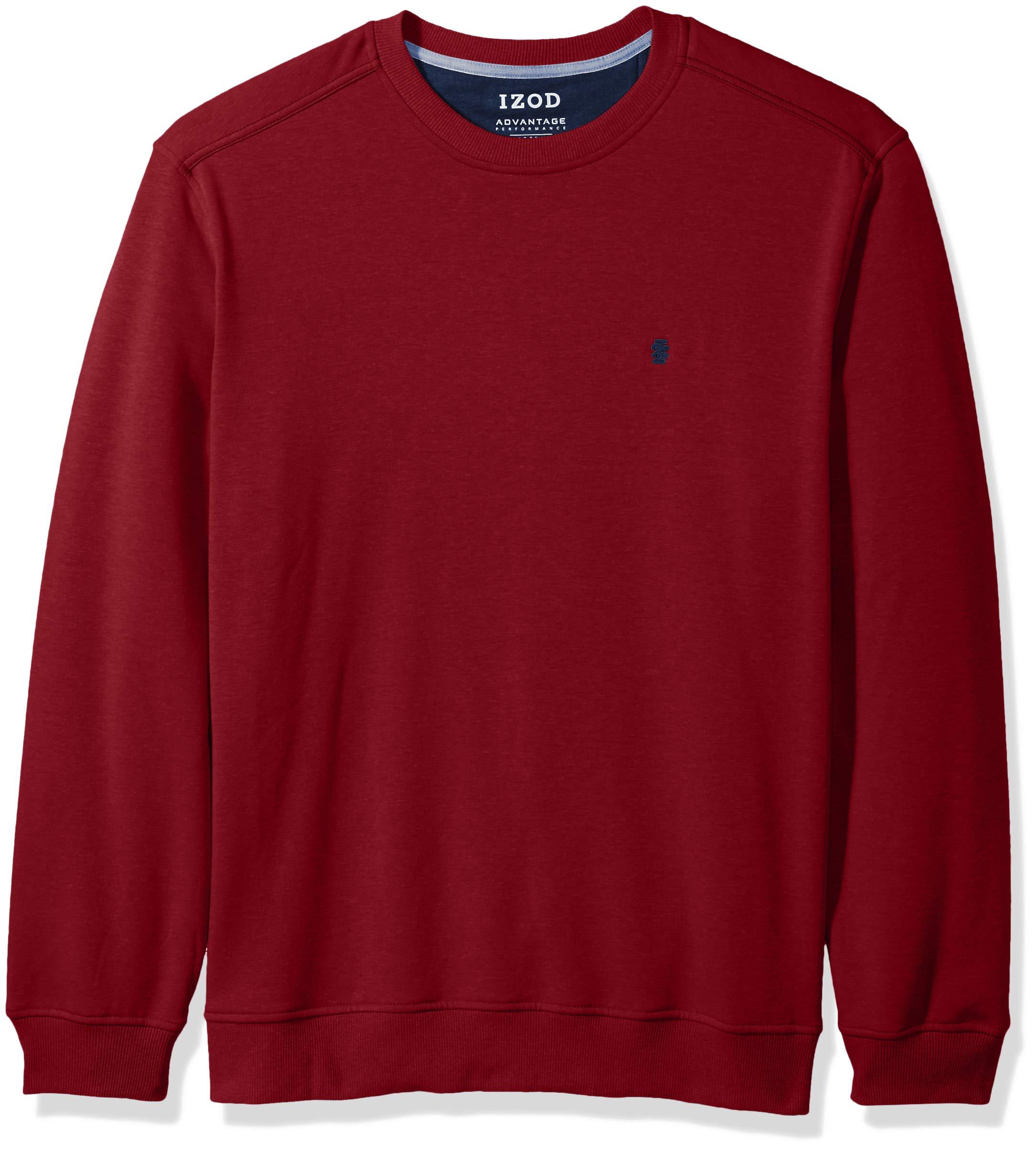 IZOD Men's Advantage Performance Long Sleeve Solid Fleece Soft Crewneck Pullover, Biking Dark red Small