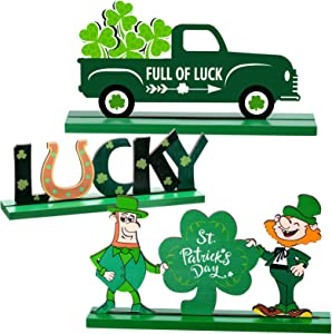 Chuangdi 3 Pieces St. Patrick's Day Table Sign Decoration St. Patrick's Day Lucky Sign Shamrocks Green Truck Leprechaun Wooden Table Ornaments for St. Patrick's Day, Table, Home Party