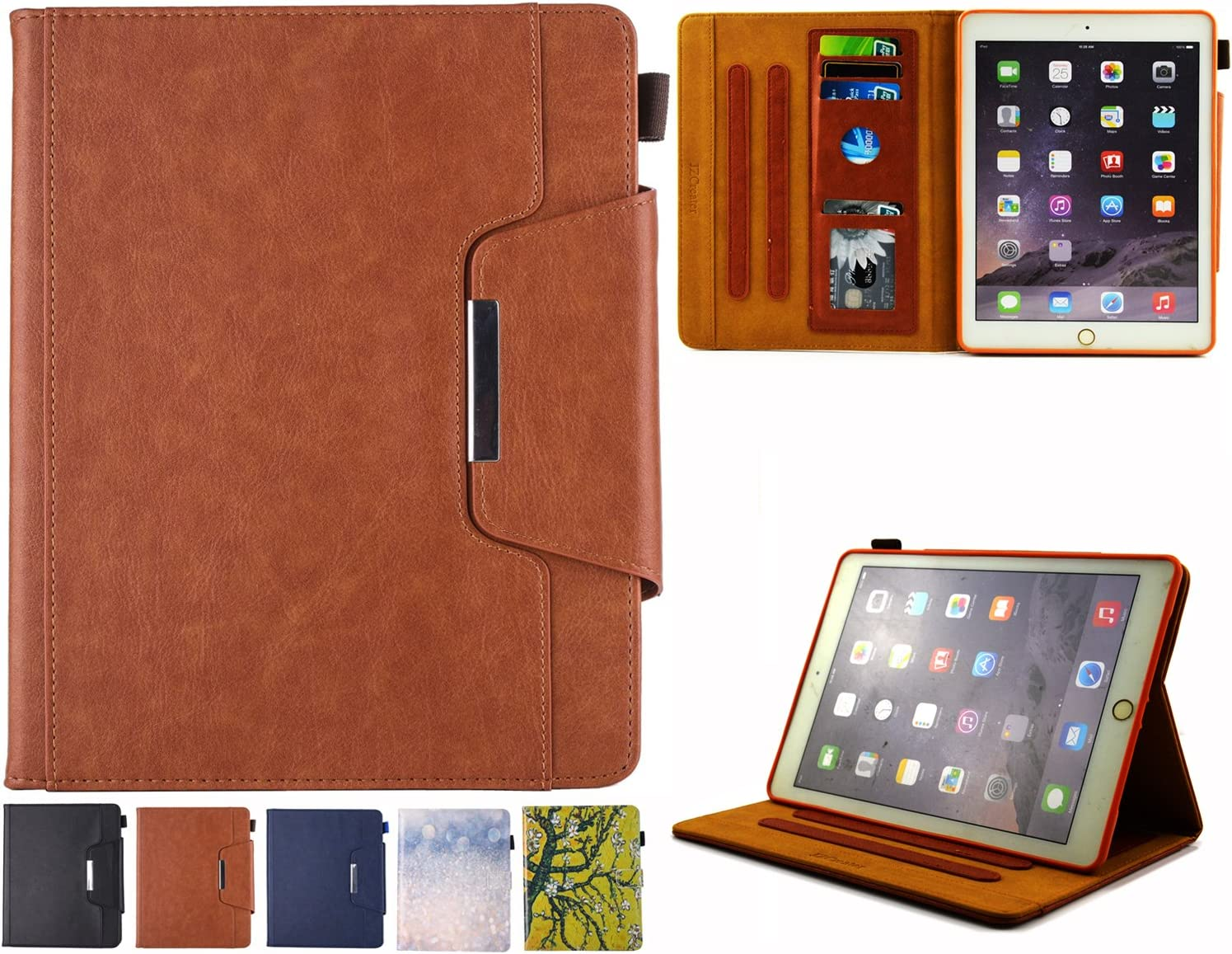 iPad 9.7 Case 2018/2017, iPad Air/Air 2 Case - JZCreater Folio Stand Multi Angle Viewing Wallet Case Cover with Auto Sleep/Wake for New iPad 9.7 2017/2018, iPad Air 1/2, Brown