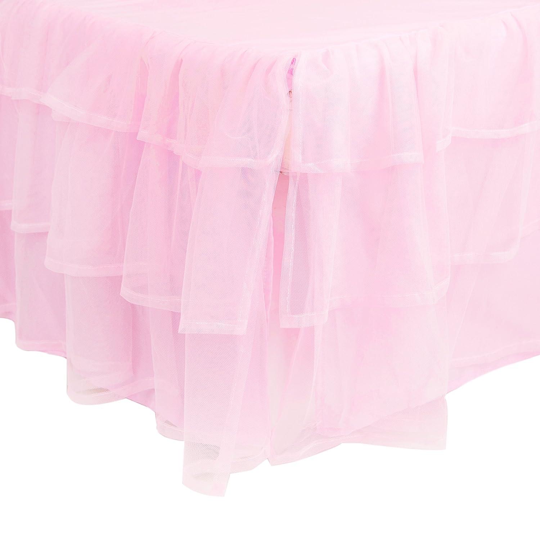 Tadpoles Triple Layer Tulle Crib Skirt in Pink bdrbtl004