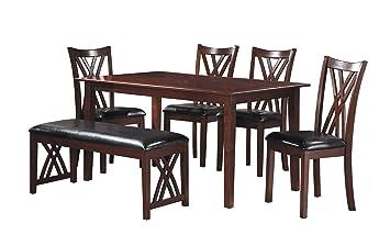 Magnificent Homelegance Brooksville 6 Piece Dining Table Set With Bench Cherry Uwap Interior Chair Design Uwaporg