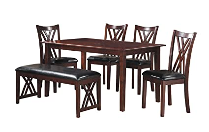 Homelegance Brooksville 6 Piece Dining Table Set With Bench, Cherry