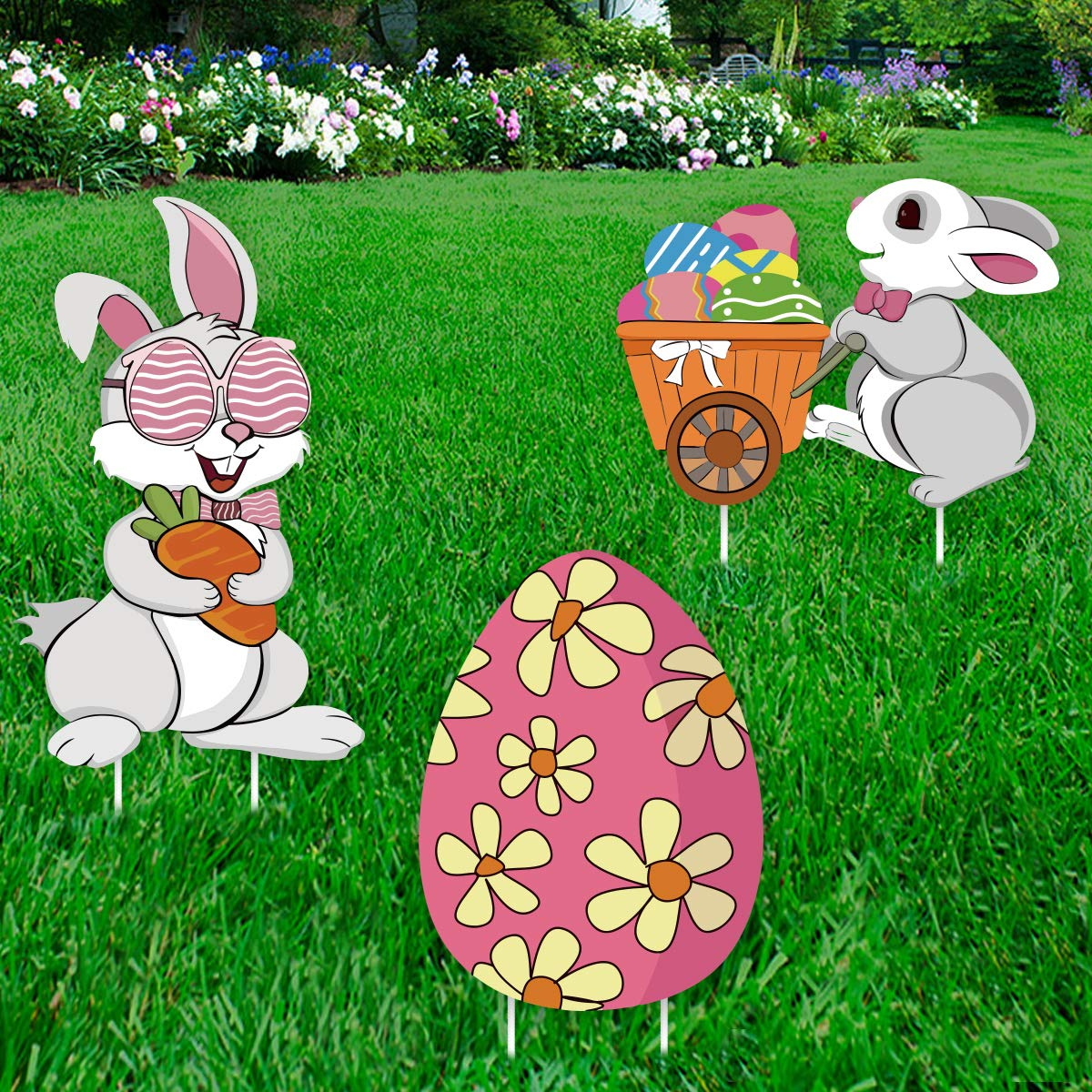 Ivenf Easter Decorations Outdoor, 3ct Bunny Eggs Corrugate Yard Signs with Stake, Garden Lawn Rabbit Eggs Plastic Party Supplies Decor