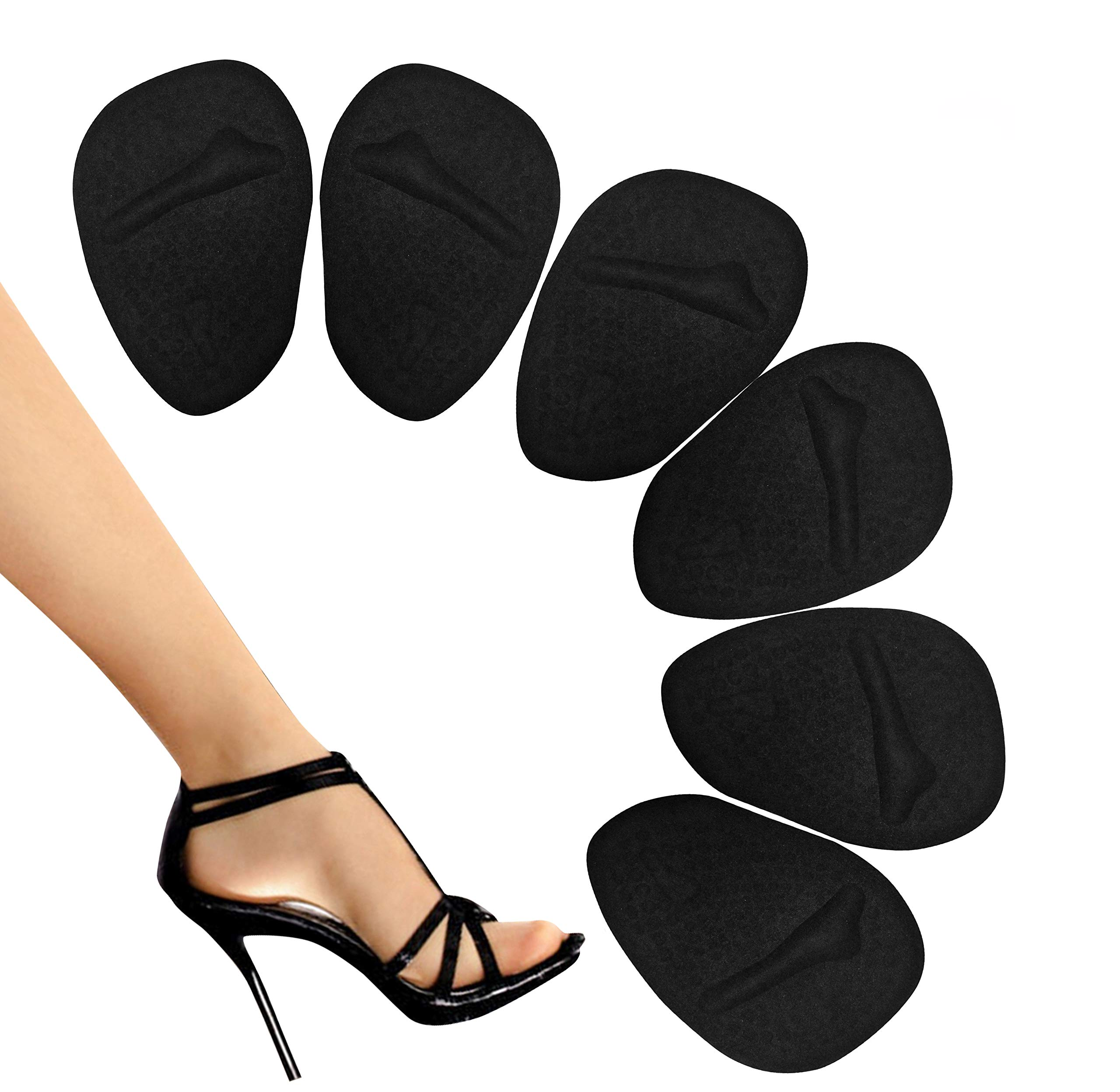 Metatarsal Pads - Ball of Foot Pads - Ball of Foot Cushions - Non Slip High Heel Inserts, High Heel Pads for Shoe Comfort - Foot Pain Relief - Soft Forefoot Pads with Self Stick Adhesive -Black by PEDI SOOTHER SOLUTIONS