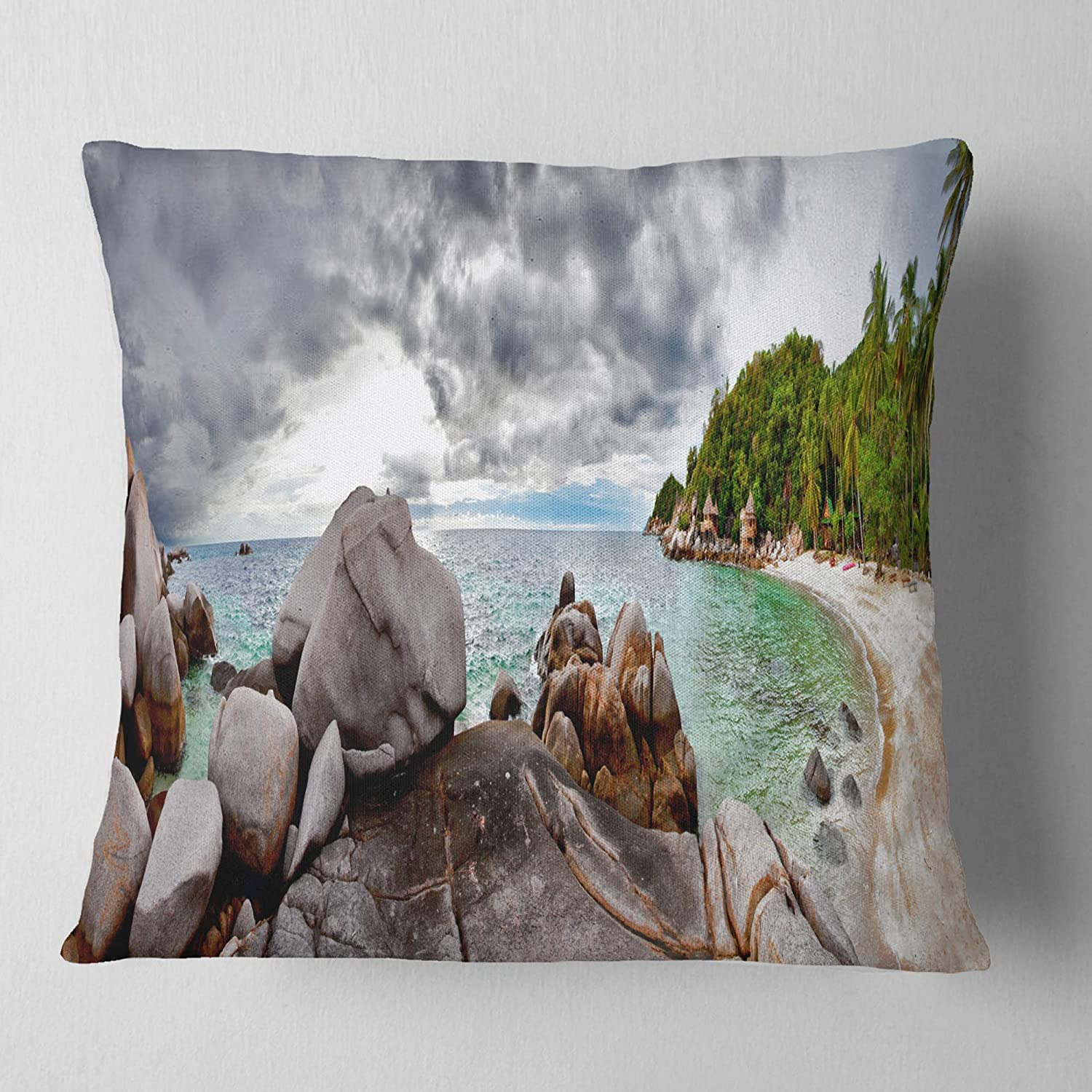 Designart CU11533-26-26 Exotic Tropical Beach Under Blue Sky' Modern Seascape Cushion Cover for Living Room, Sofa Throw Pillow 26 in. x 26 in. in, Insert Printed On Both Side