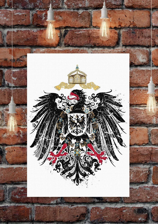 Schwarz, 45 x 30 cm Deutschland Preu/ßen Friedrich der Gro/ße Bild Gem/älde Wandbild Poster Uglyshirt89 Kaiserreich Premium Leinwand