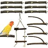 EBaokuup Bird Parrot Perch Stand Set - 10 PCS Small Bird Parakeet Stand Toys, Natural Wood Fork Perch Rod Stand Bird Cage Acc