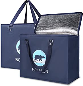 Insulated Bags for Food Transport, Grocery Cooler Bag for Shopping, Delivery Thermal Bag Hot Cold, Xl Large, Blue Bear