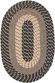 "product image for Constitution Rugs Plymouth Braided Rug in Black Sand (8'6"" x 11'3"" Oval) Made in New England"