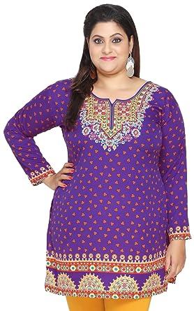 7bb0e61019 Maple Clothing Plus Size Womens Indian Tunics Kurti Top Printed Apparel  (Purple