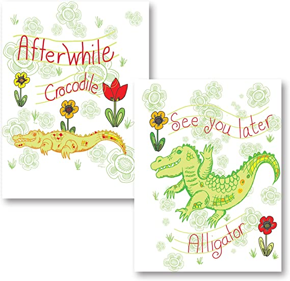 See You Later Alligator After Awhile Crocodile Childrens Framed Art Picture 10x16