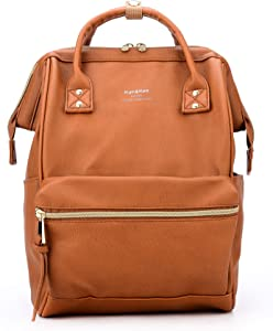 Kah&Kee Leather Backpack Diaper Bag with Laptop Compartment Travel School for Women Man (Camel, Small)