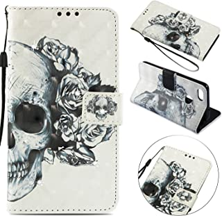 CUAgain Étui Compatible avec Huawei P9 Lite Mini/Y6 Pro 2017 Cuir Rabat PU Silicone Motif Drôle 3D Diamond Magnetique Coque Antichoc Case Cover Portefeuille pour Femme Fille Homme,Never Stop Learning